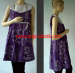 Model dress batik warna ungu